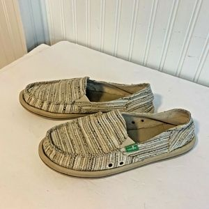 Sanuk Womens Sz 6 M SLip On Tweed Loafer Shoes Fla